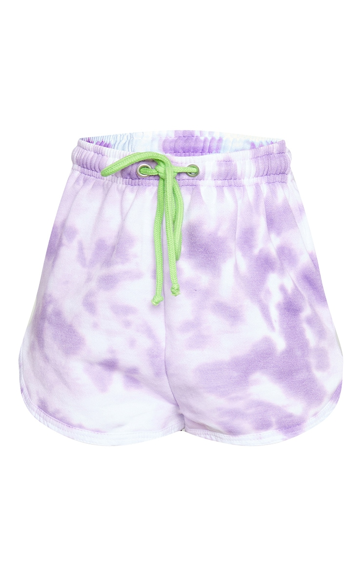 Petite Lilac Tie Dye Sweat Runner Shorts 6