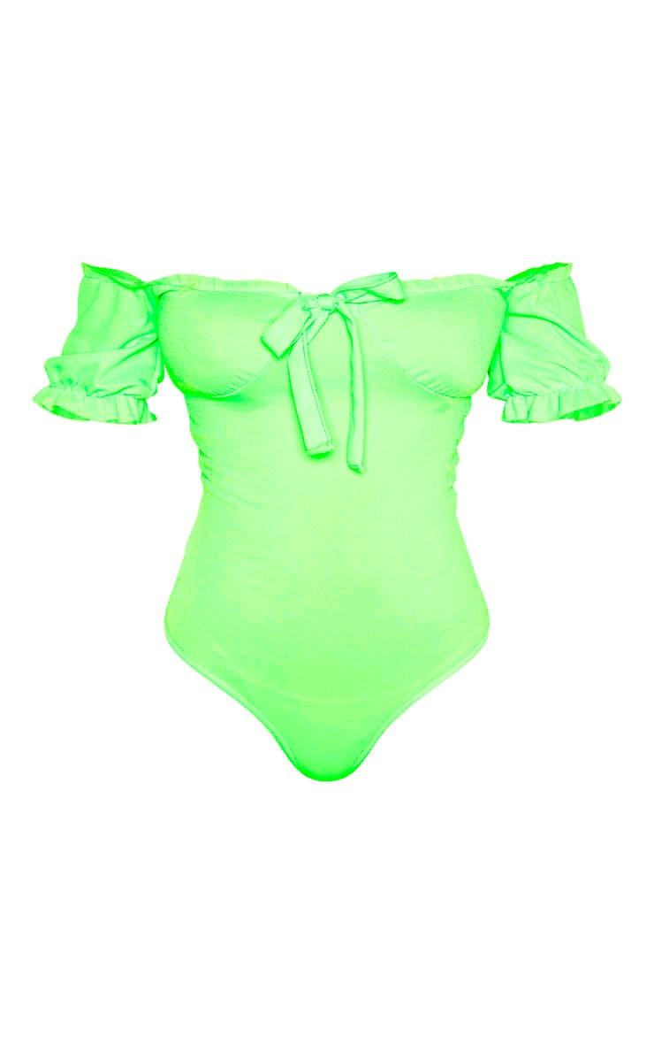 Tall Neon Lime Bardot Bow Detail Frill Trim Bodysuit 3