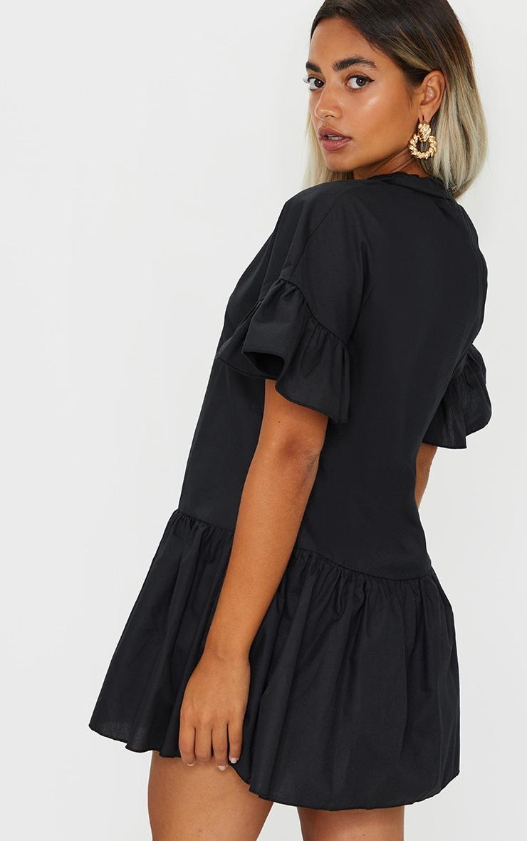 Petite Black Drop Hem Short Sleeve Shirt Dress 2