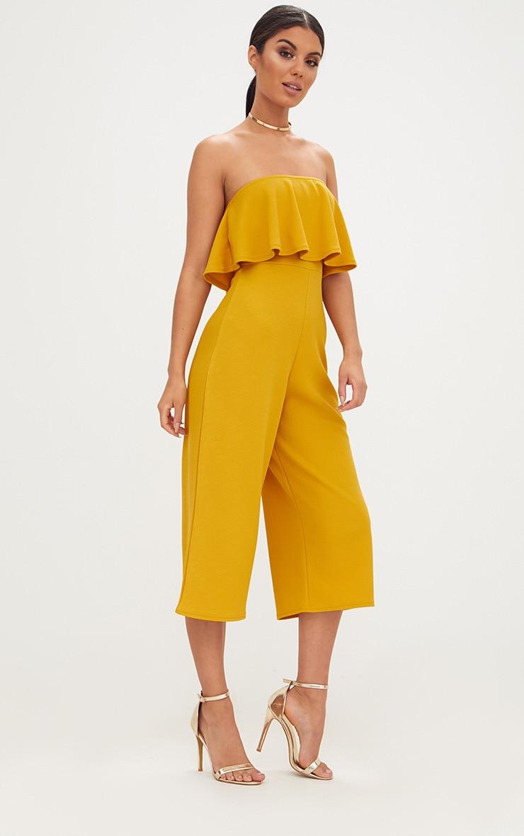 Mustard Bardot Double Layer Culotte Jumpsuit 4