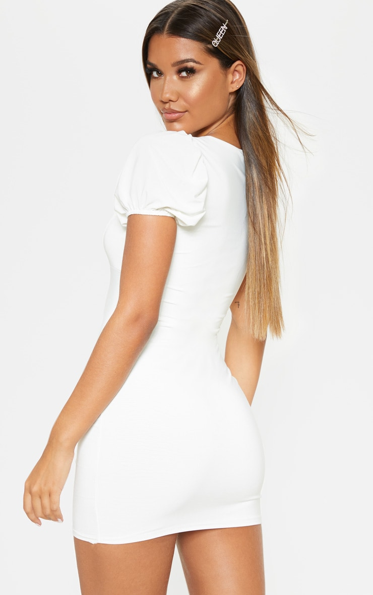 White Slinky Hook & Eye Puff Sleeve Bodycon Dress 2