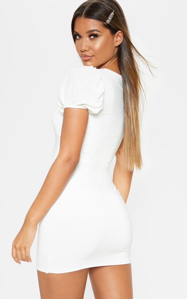 White Slinky Hook & Eye Puff Sleeve Bodycon Dress 2