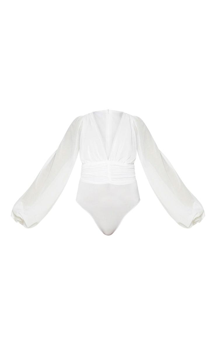 White Mesh Ruched Waistband Bodysuit 5