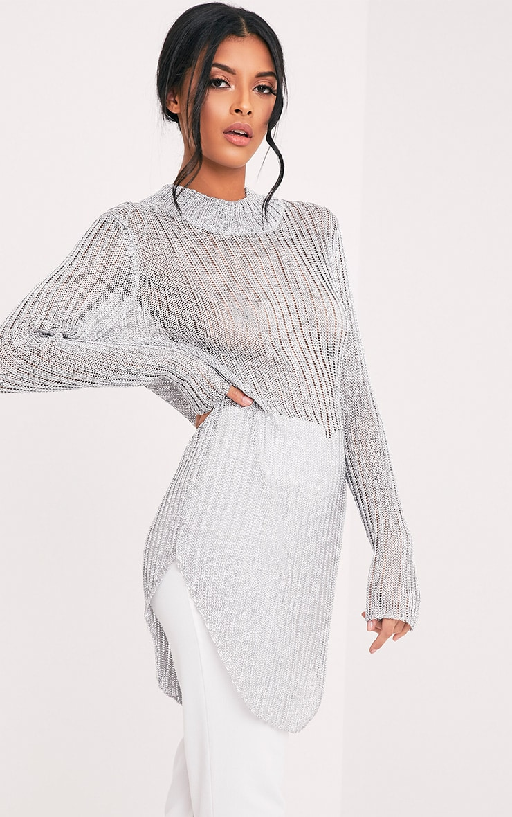 Haisley Metallic Silver Knitted Curved Hem Sheer High Neck Jumper 3