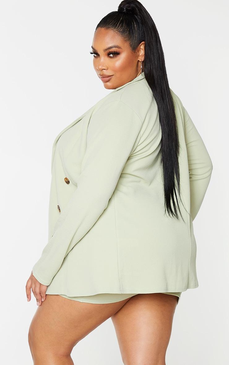 Plus Sage Green Oversized Button Detail Blazer 2