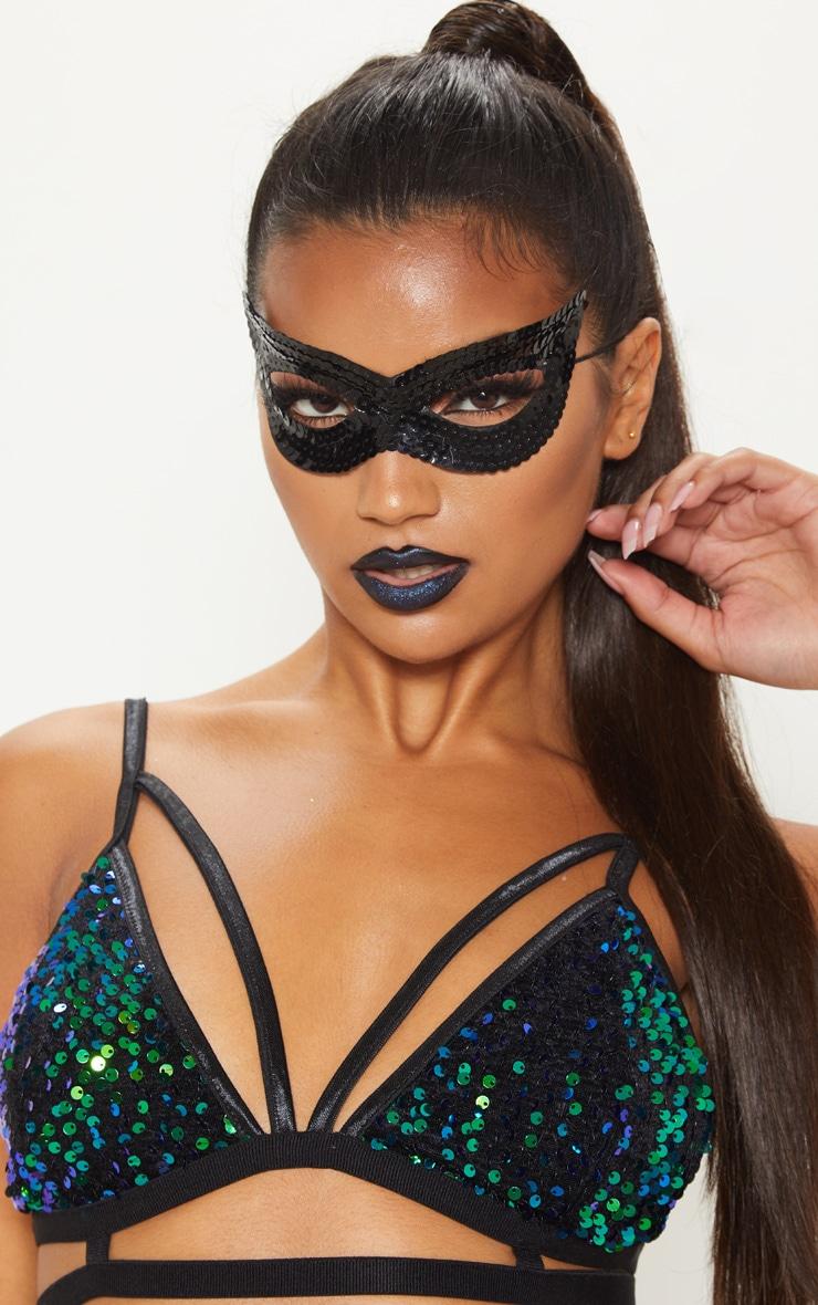 Black Sequin Mask 1