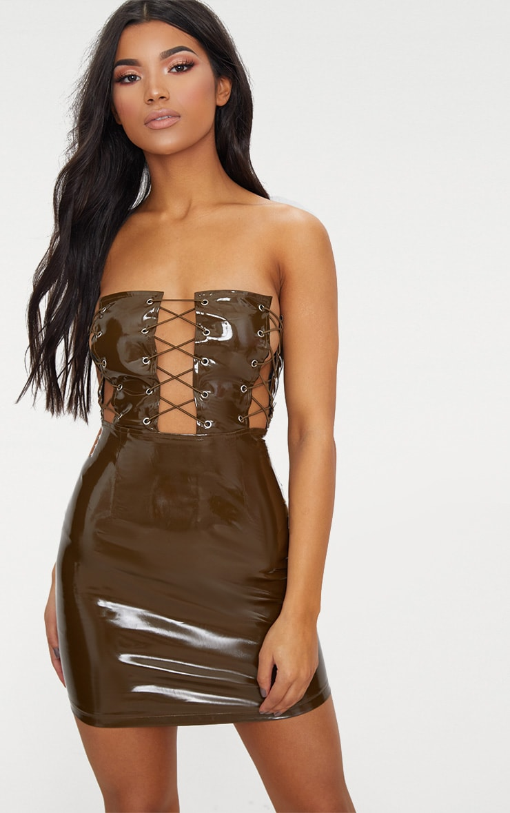 Olive Bandeau Vinyl Lace Up Front Bodycon Dress 1