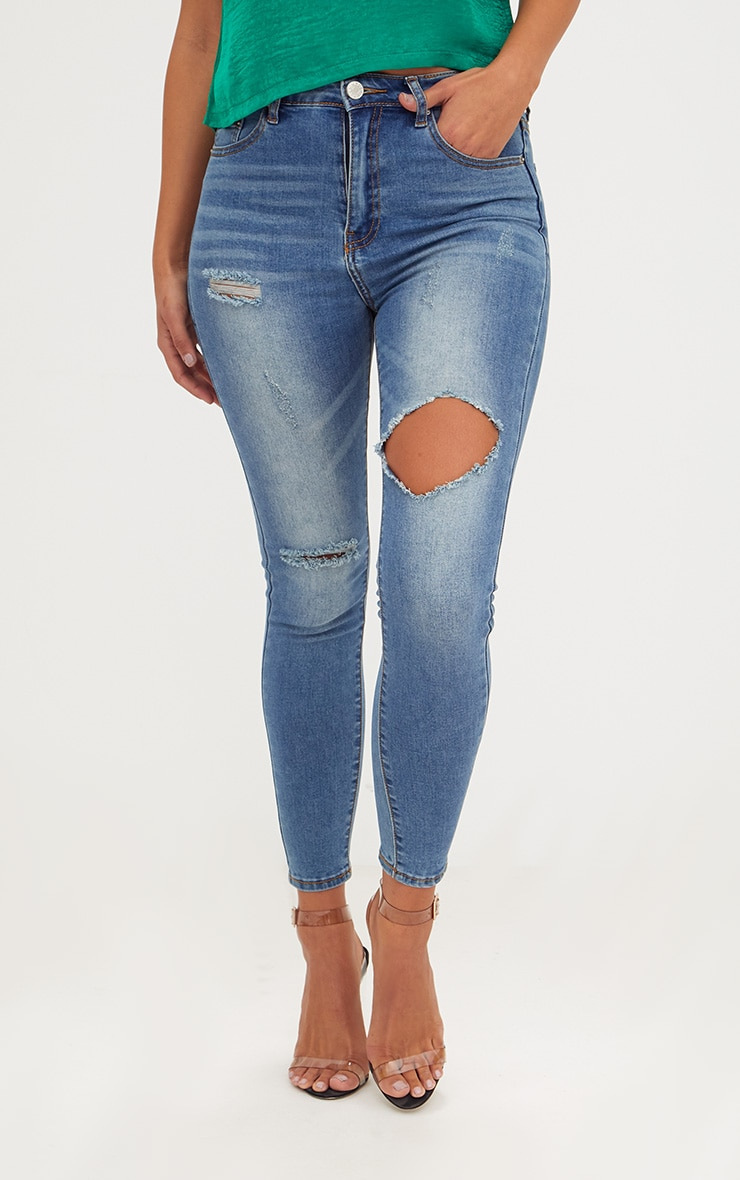 Mid Wash Open Thigh Skinny Jean 2