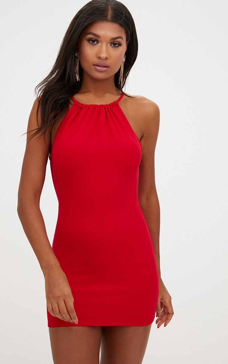 Red Gathered Neck Open Back Bodycon Dress 1