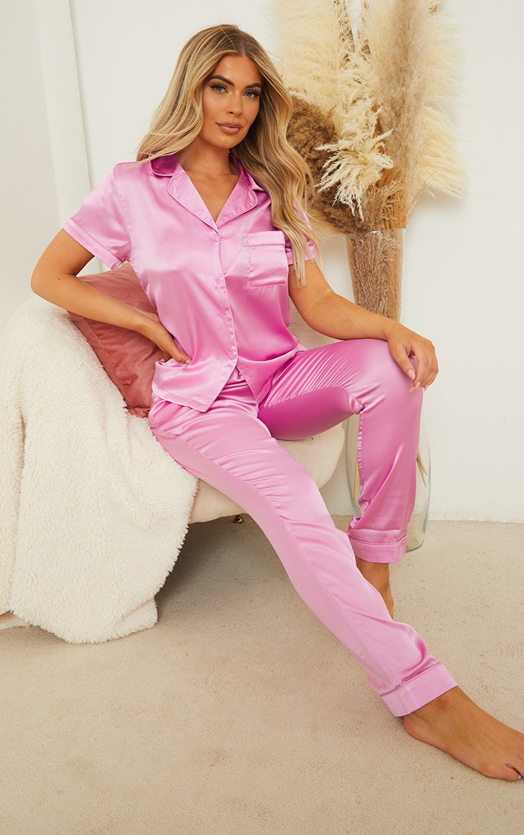 Dusty Pink Satin Short Sleeve Shirt And Trousers Pj Set 3