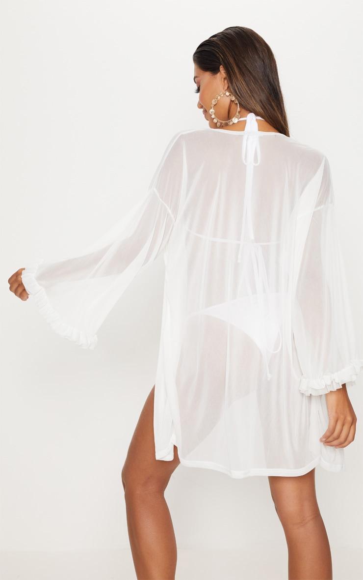 White Frill Sleeve Short Kimono 2