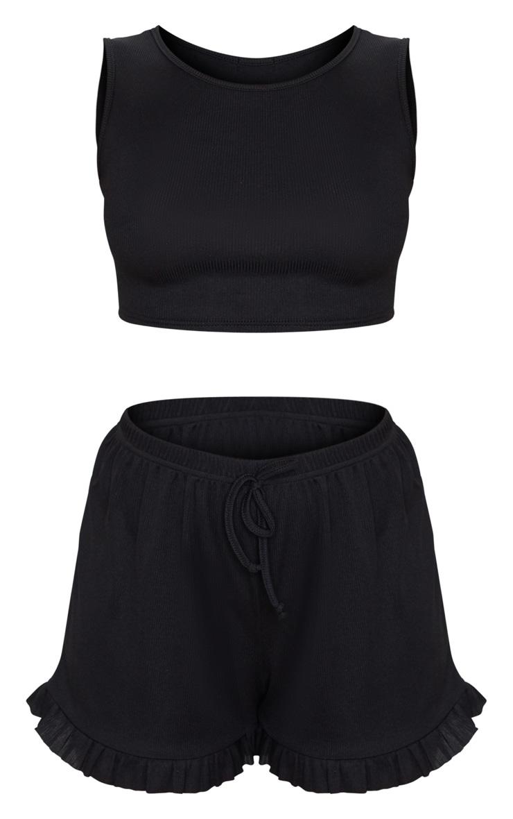 Ensemble de pyjama côtelé noir à top sans manche et short volanté 5