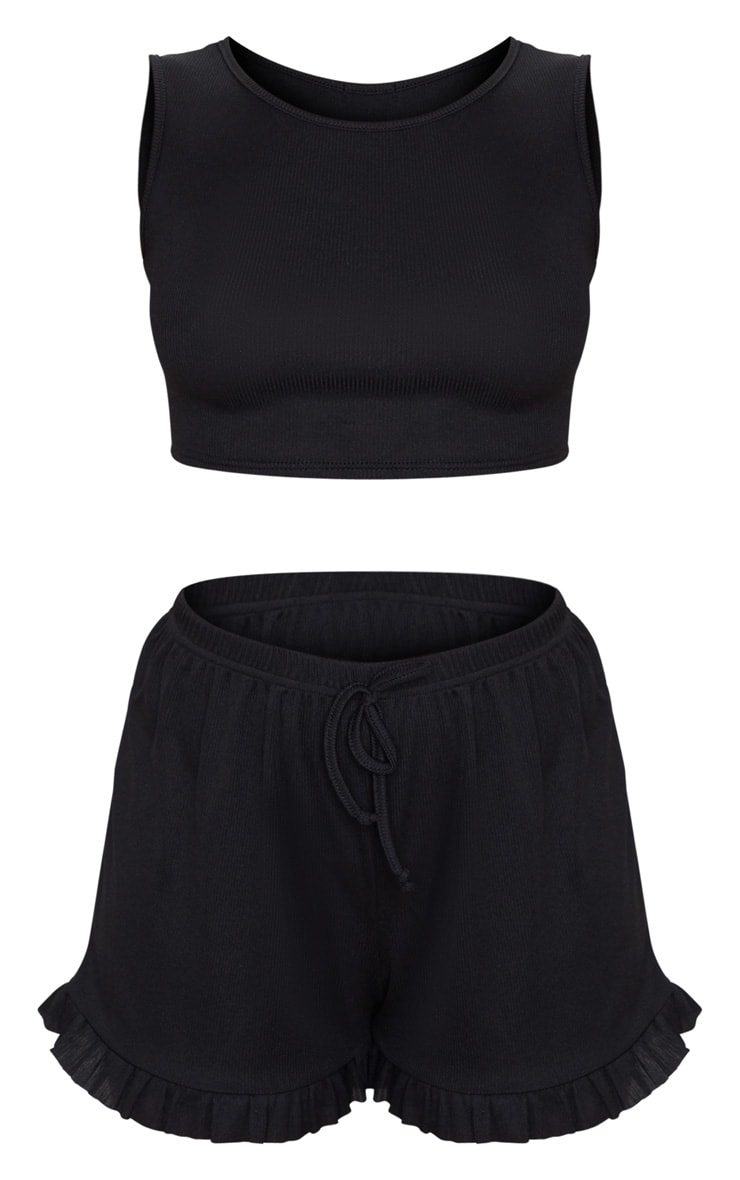 Black Sleeveless Ribbed Frill Short PJ Set 5
