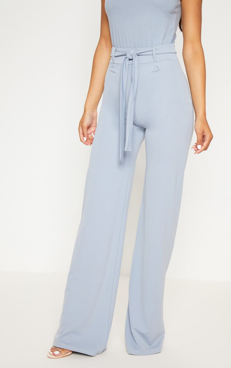 Dusty Blue Tie Waist Wide Leg Trouser 2