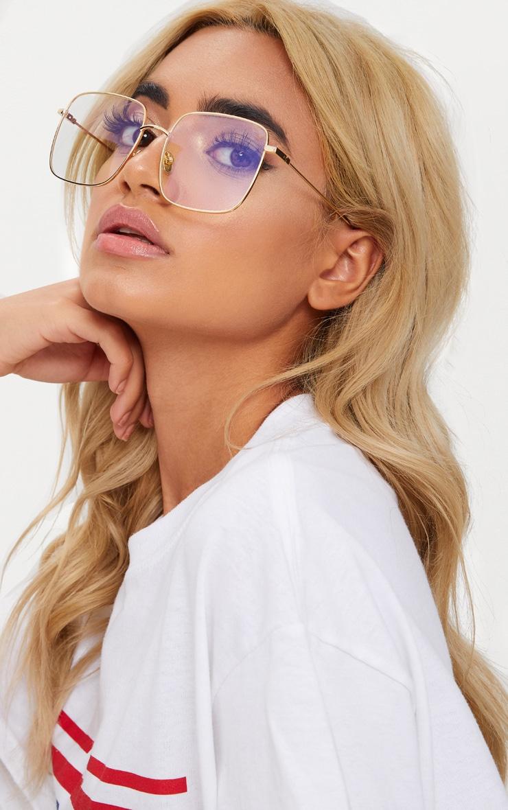 Gold Clear Lensed Square Metal Glasses 2