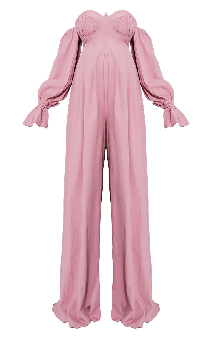 Maternity Pink Corset Detail Bardot Wide Leg Jumpsuit 5
