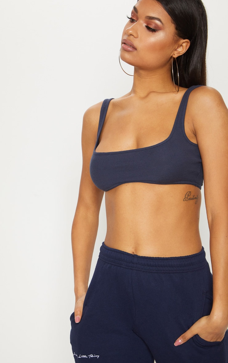 Charcoal Blue Rib Extreme Scoop Neck Crop Top  4