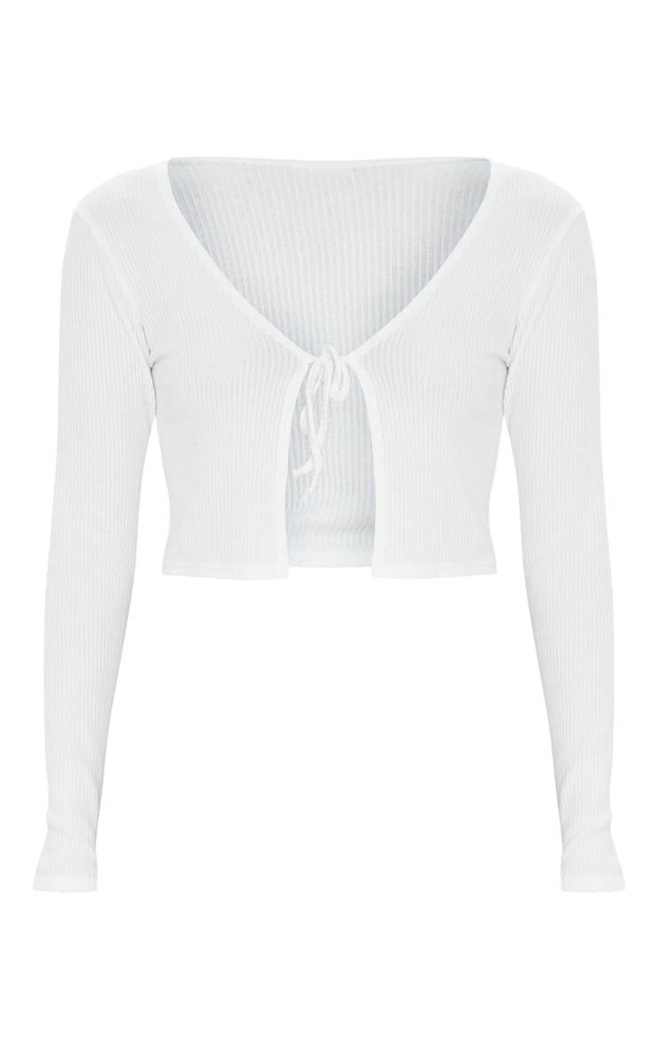 White Tie Front Ribbed Crop Top 5