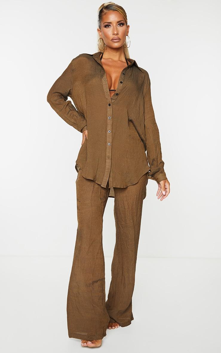 Brown Linen Look Beach Shirt 3