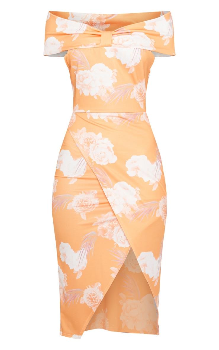 Tangerine Floral Print Bardot Bow Detail Wrap Midi Dress 3