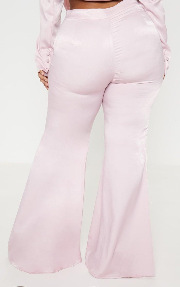 Plus Light Pink Tailored Extreme Flared Pants 4