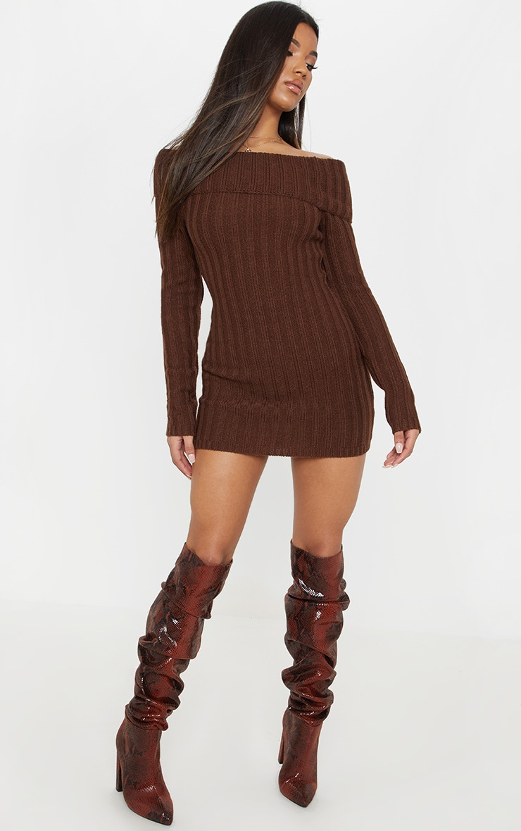 Chocolate Chunky Knitted Bardot Dress  4