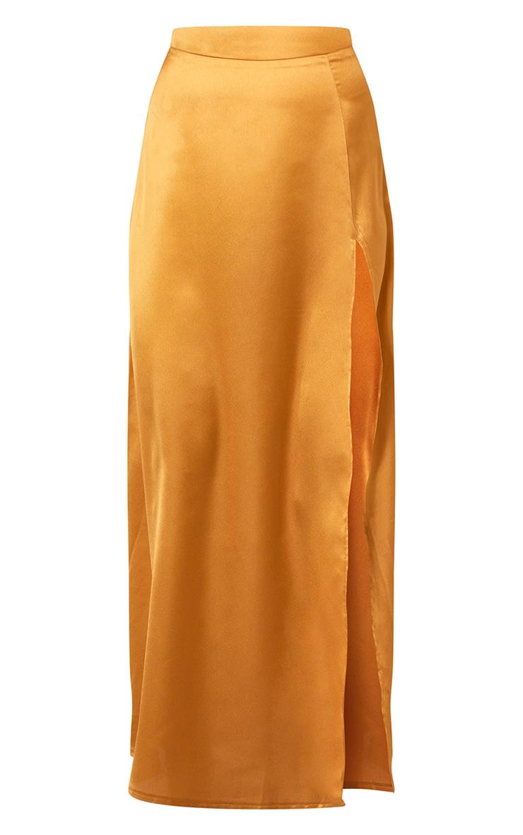 Mustard Satin Split Leg Maxi Skirt 5