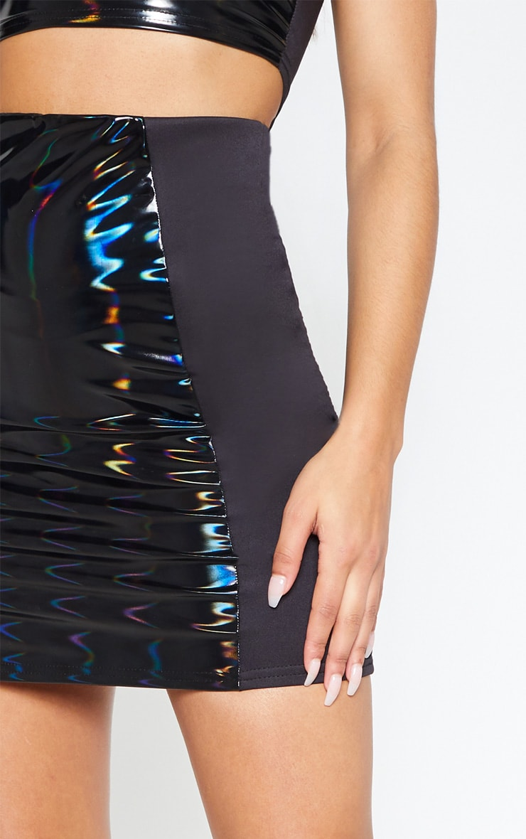Black Hologram Contrast Panel Mini Skirt 6