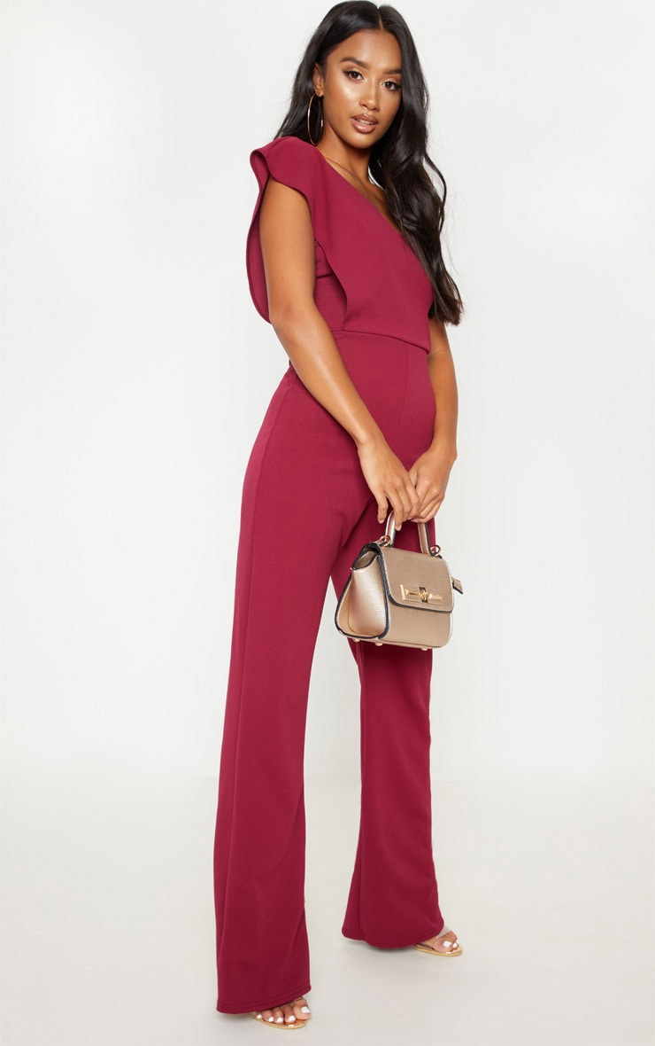 Petite Burgundy  Drape One Shoulder Jumpsuit 1