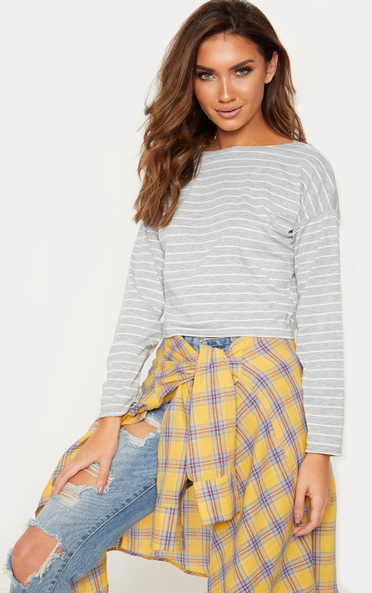 Grey Stripe Wide Neck Long Sleeve Crop Top