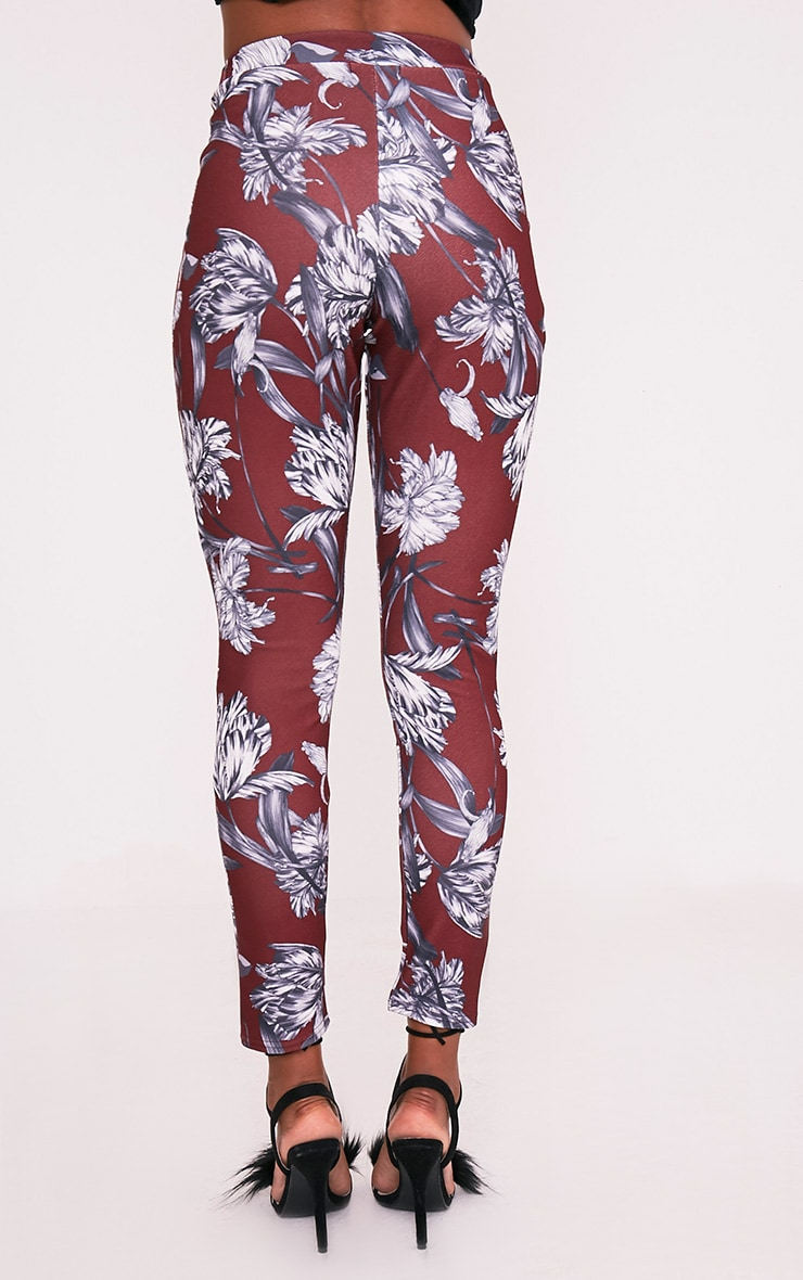 Anaya Burgundy Floral Cigarette Trousers 5