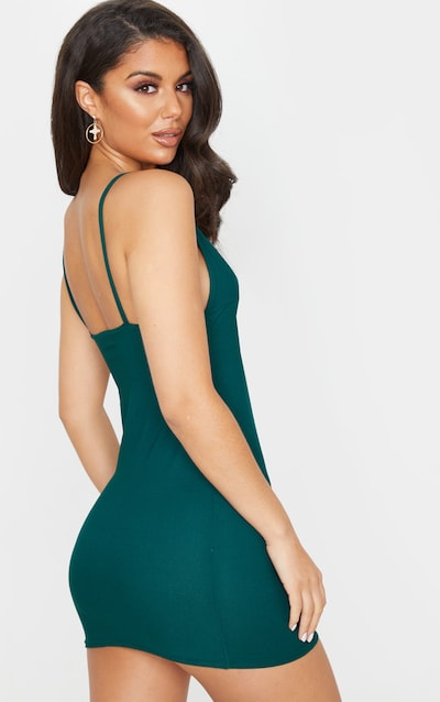 Emerald Green Plunge Detail Strappy Bodycon Dress