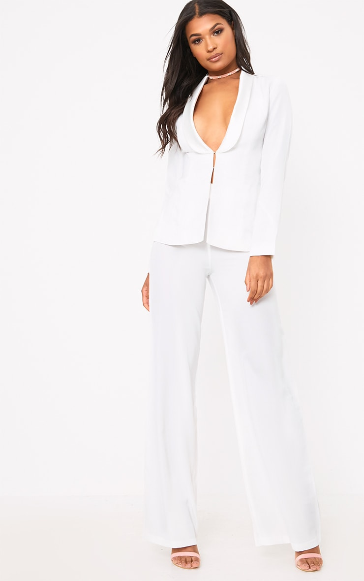 White Satin Lapel Suit Jacket  4