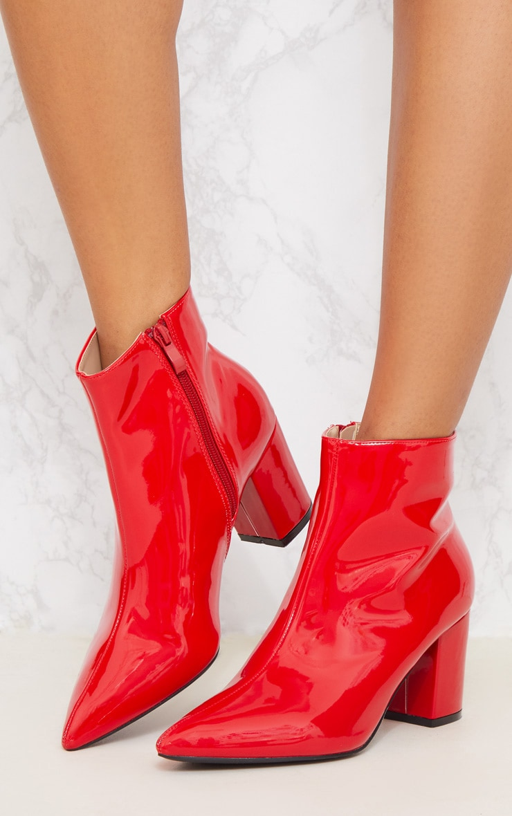 Red Point Block Heel Ankle Boot 3