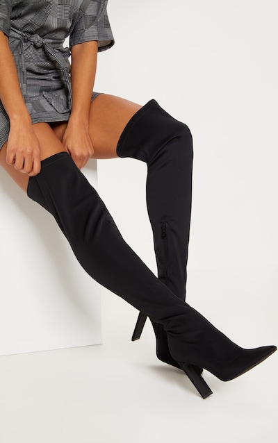 0aec1b22e86 Black Over The Knee Flat Heel Sock Boot