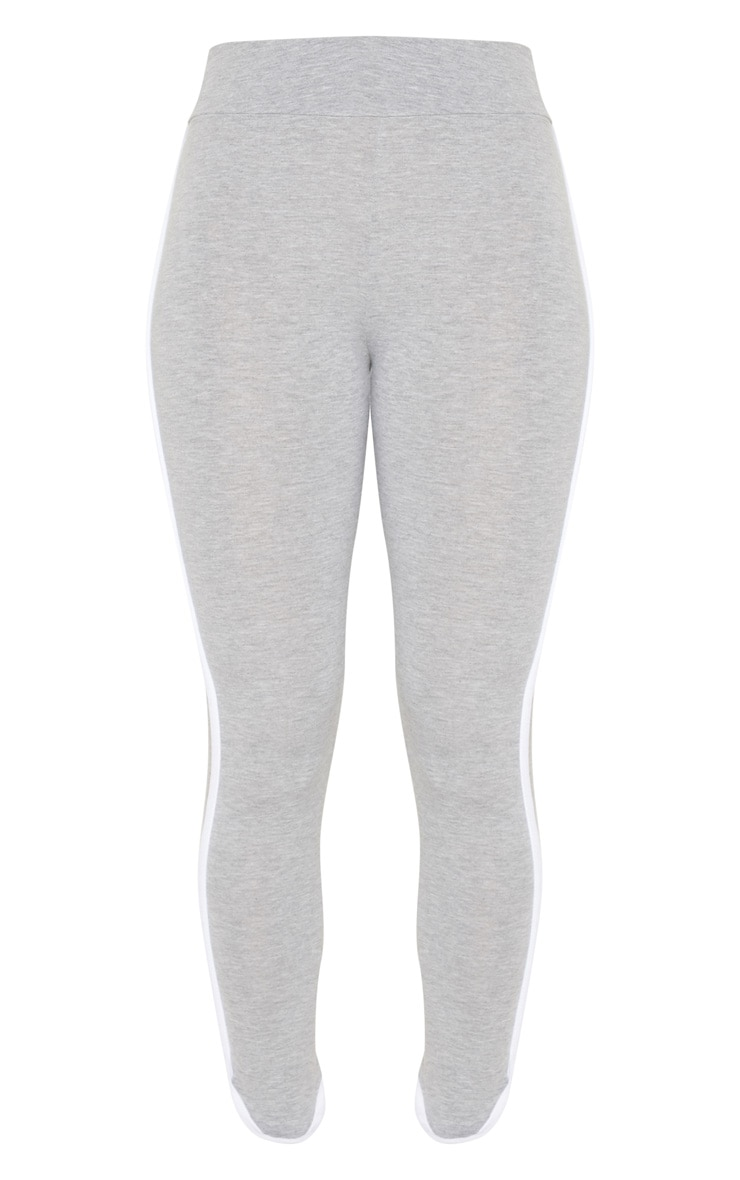 Grey High Waisted Curve Hem Detail Legging 3