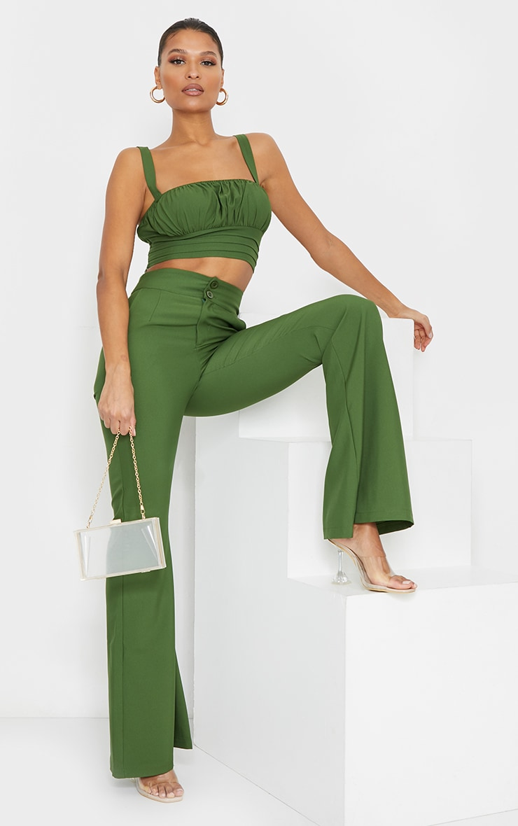 Olive High Waisted Double Button Waist Flared Pants 1