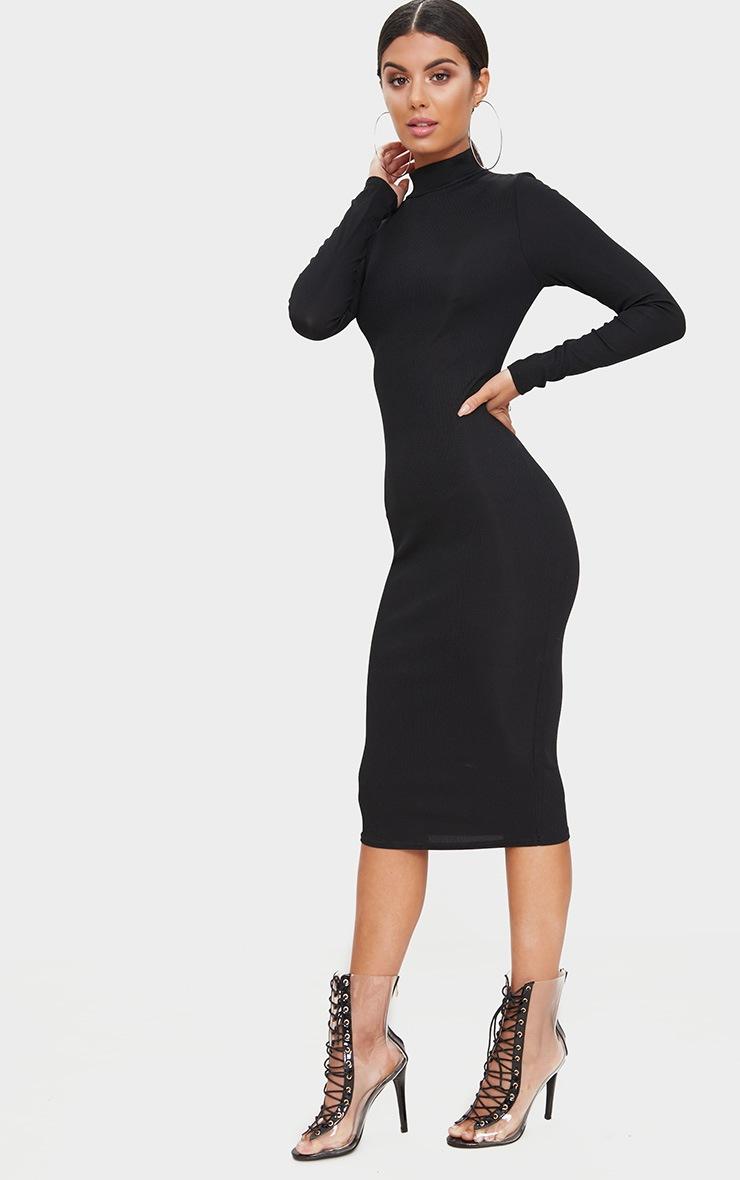 Black Ribbed Long Sleeve Midi Dress 4