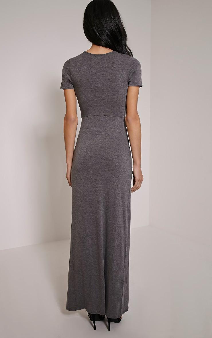 Basic Charcoal Split Front Maxi T Shirt Dress 2