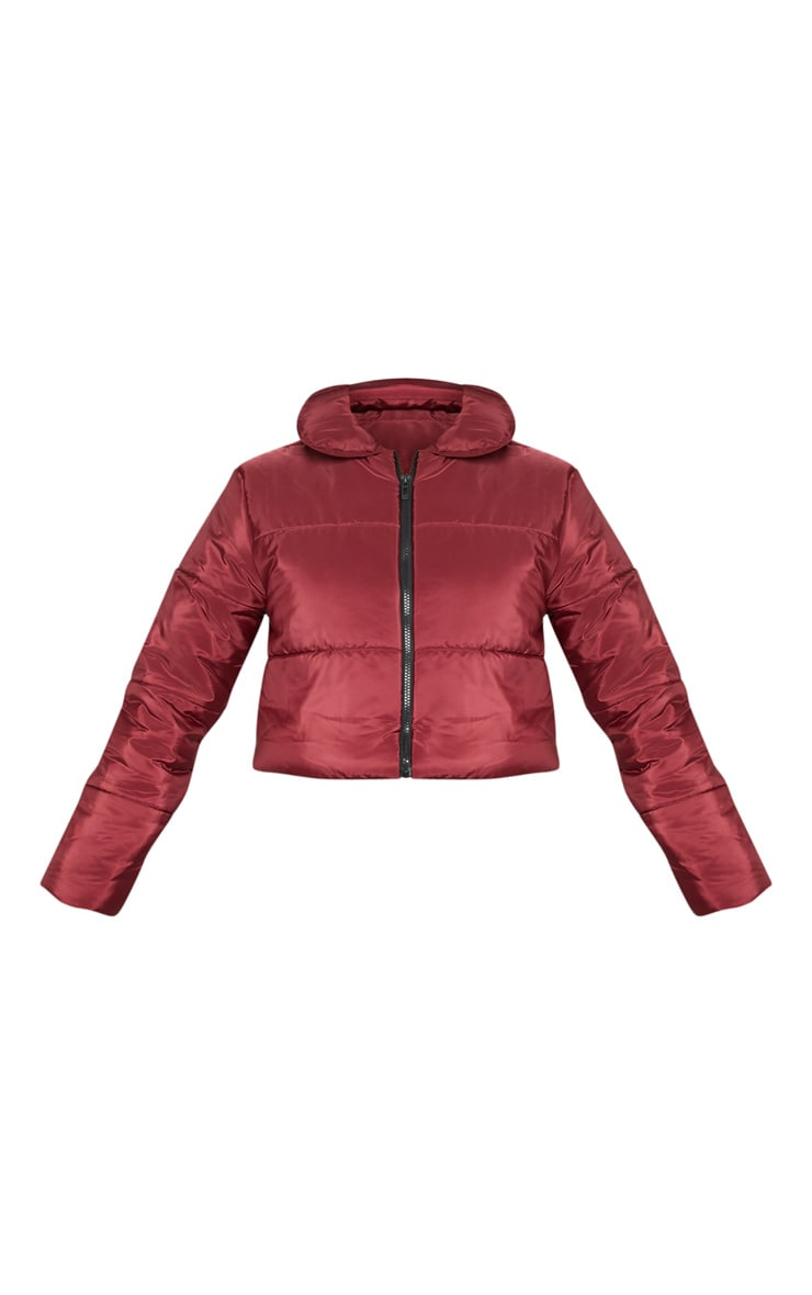 Burgundy Cropped Puffer 3