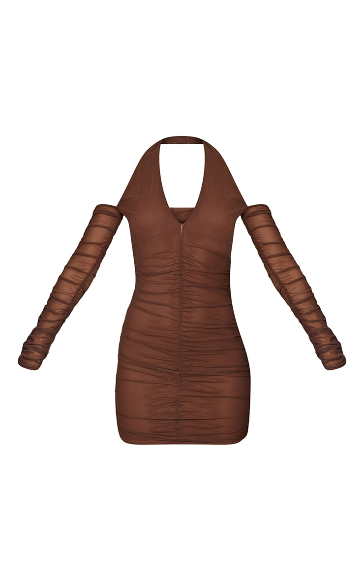 Chocolate Halterneck Long Sleeve Mesh Ruched Bodycon Dress 5