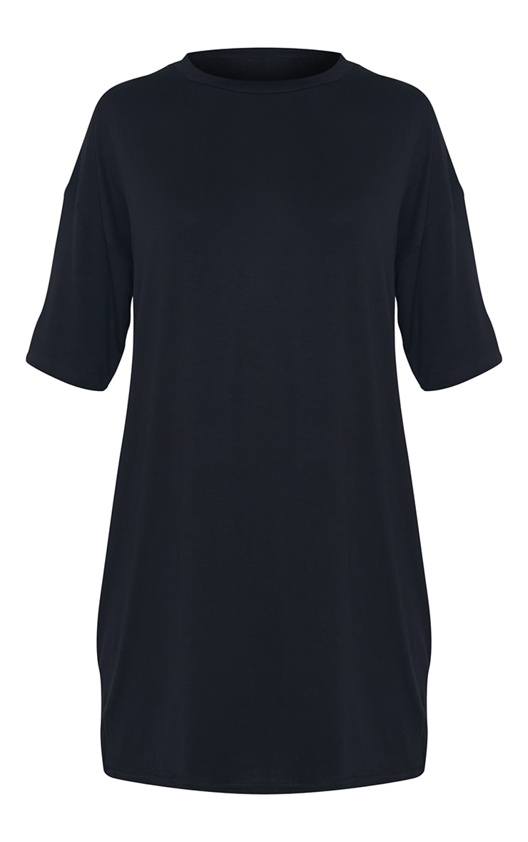 Tall - Robe tee-shirt noire oversize 6
