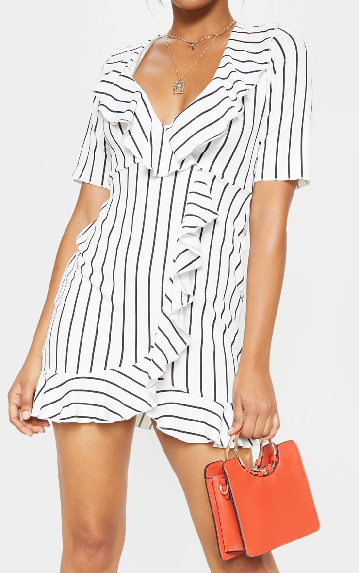 White Stripe Frill Detail Wrap Dress 5