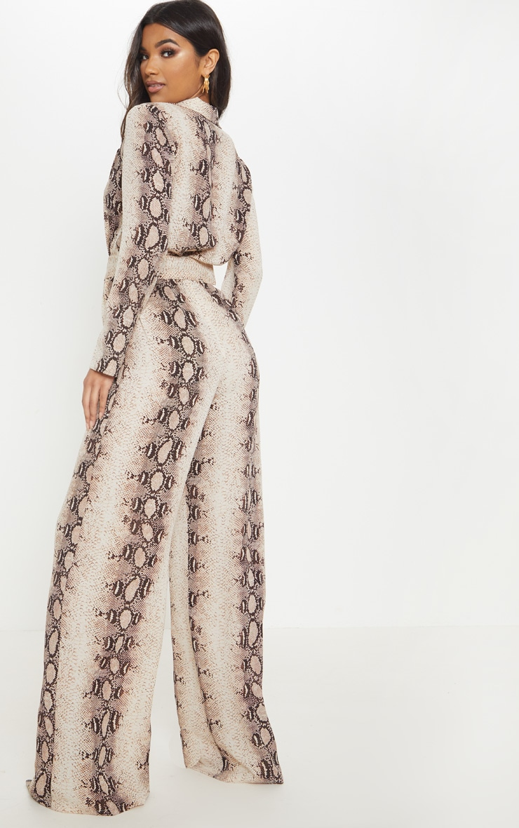 Beige Snake Belt Detail Wide Leg Jumpsuit 2