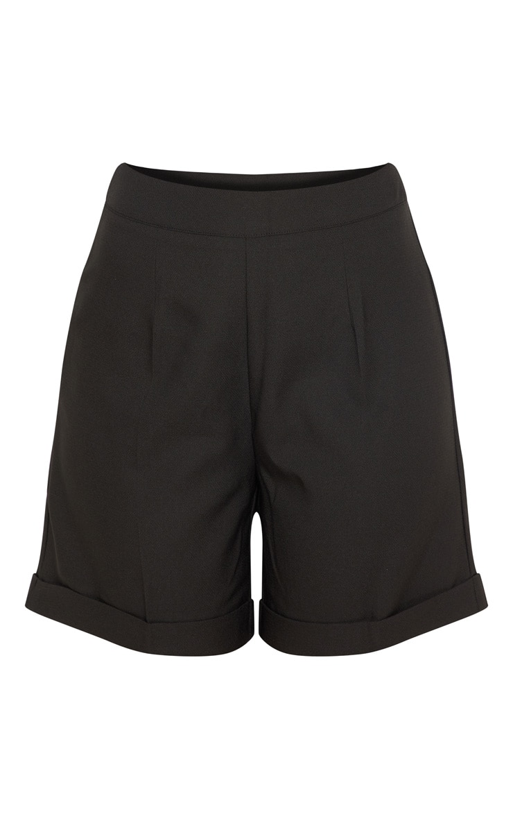 Black Woven High Waisted Shorts 3
