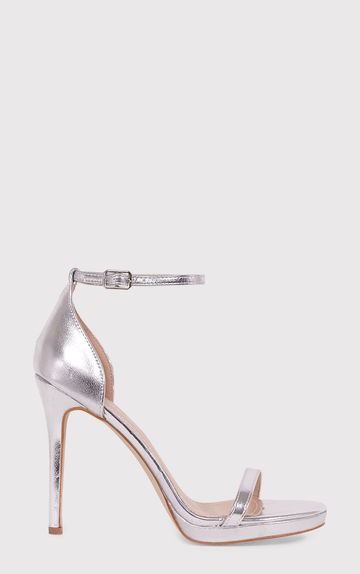 Enna Silver Single Strap Heeled Sandals 2