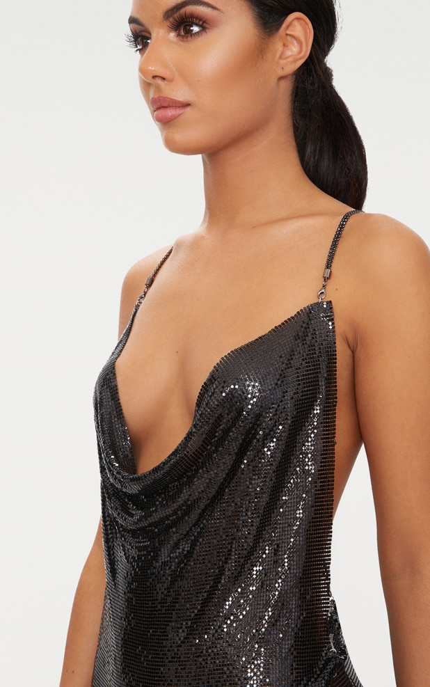 Black Chainmail Diamante Strap Dress 5