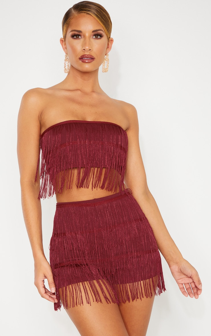 Burgundy Tassel Bandeau Crop Top 1