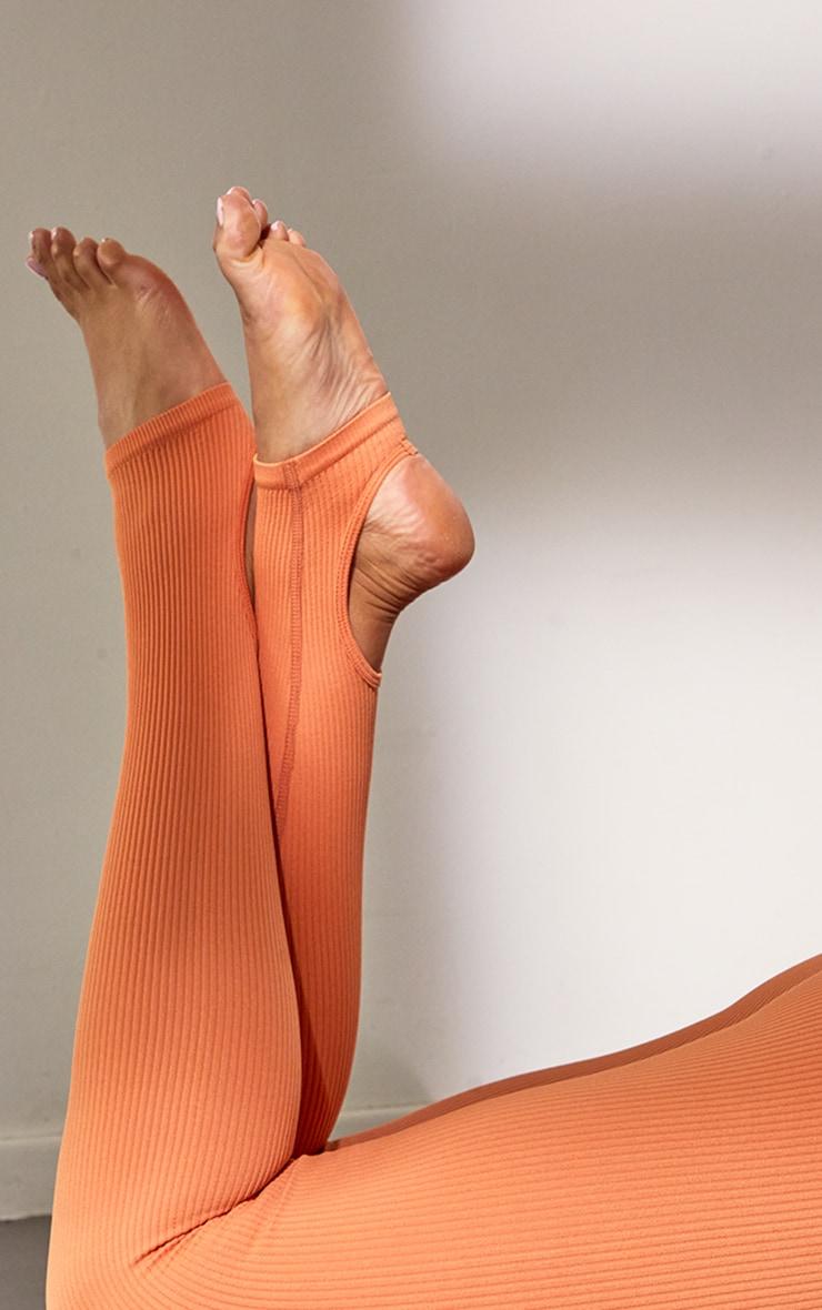 Burnt Orange Structured Contour Rib Stirrup Leggings 4