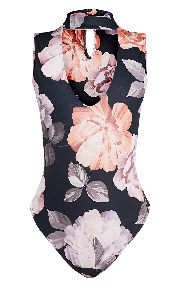 Lois Black Floral Print Cut Out Neck Thong Bodysuit 3